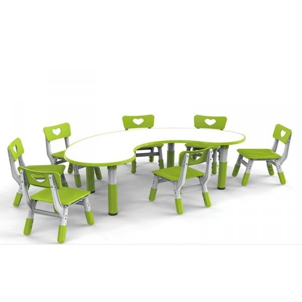 幼稚園學習課桌椅套裝兒童書桌可升降寫字檯防火板豪華月亮桌