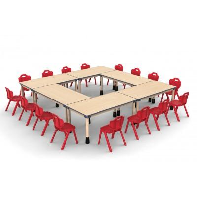 長方桌兒童楓木紋可拼式