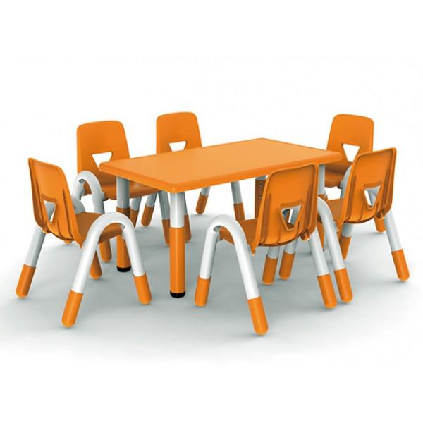 長方桌幼兒學習吹塑面板桌