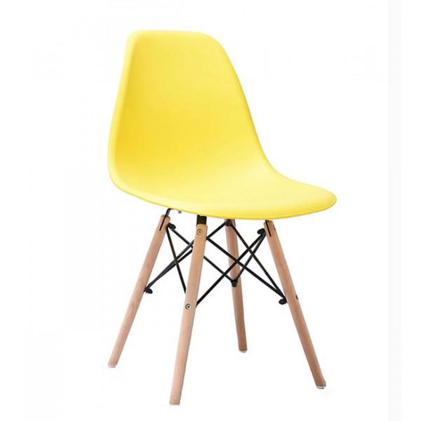北歐伊姆斯塑料椅子pp塑料椅面實木腿椅