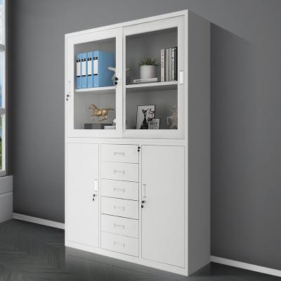 寬體中六斗文件櫃多層加厚抽屜對開門玻璃資料櫃檔案櫃