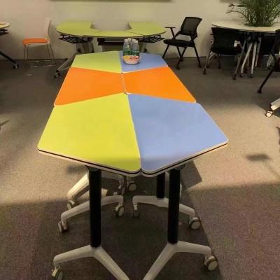 可移動折疊員工拼接辦公電腦會議桌YJ-F021梯形桌