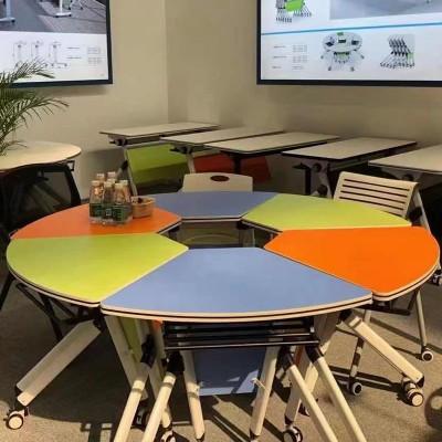 可移動折疊員工拼接辦公電腦會議桌YJ-F019扇形